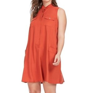 18 20 2X SHARAGANO burnt orange shift SHIRT DRESS